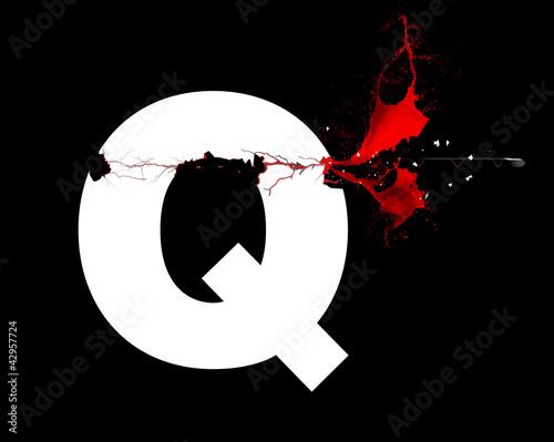 Q - Lettre - Tuer, violence, exécution symbole