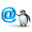 3d Penguin in glasses with email symbol