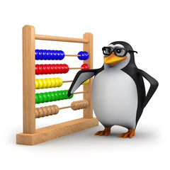 3d Penguin in glasses with abacus