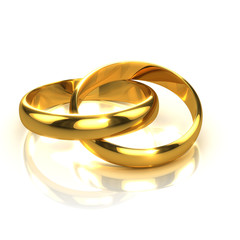 3d Two Gold Wedding Rings linked