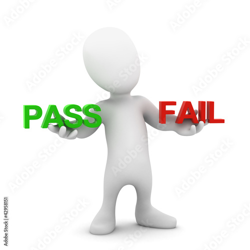 3d Little man choose between pass and fail