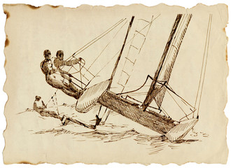 hand-drawn pictures from the world of sports - sailing boat