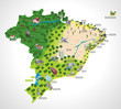 Map of Brazil with all capitals. Cities of Brazil. - 42958785