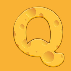 Vector cheese letter Q on orange background.