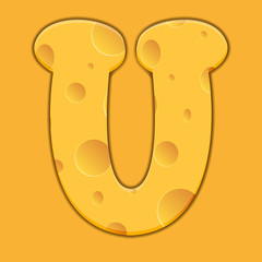 Vector cheese letter U on orange background.