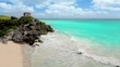 Tulim ancient Mayan ruins turquoise Caribbean sea of Mexico