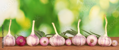 young garlic and onion
