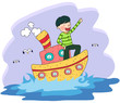 Boy sailing in boat