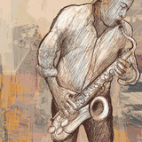 saxophonist playing saxophone on grunge background