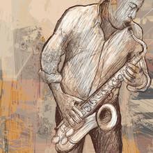 saxophoniste jouant du saxophone sur fond grunge