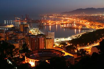 Málaga, vista panorámica nocturna
