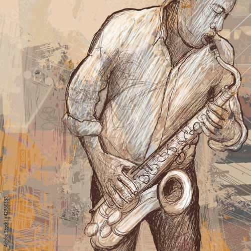 Foto op Plexiglas Muziekband saxophonist playing saxophone on grunge background