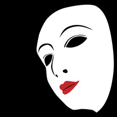white mask on a black background