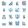 Finance web icons. Gray and blue series.