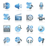 Audio video web icons. Gray and blue series.