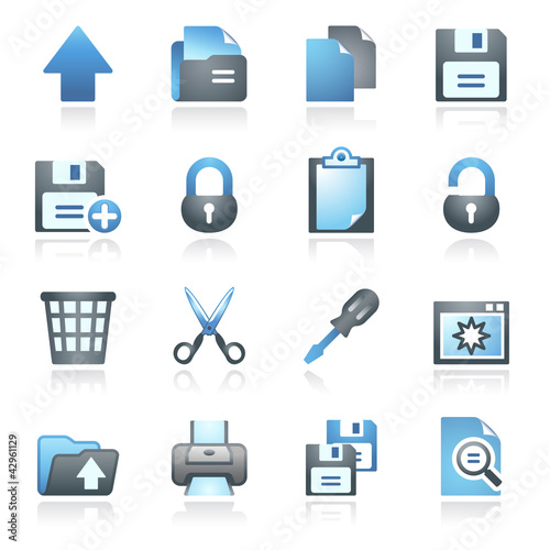 Document web icons, set 1. Gray and blue series.