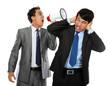 boss shouting over his employee's ear