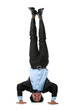 business man doing handstand