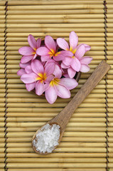 frangipani and Green salt in wooden spoon on mat