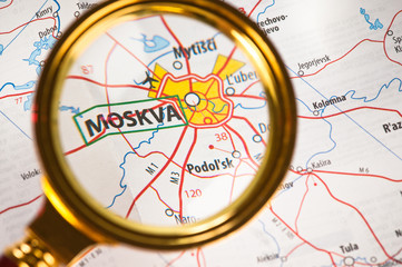Moskva on a map