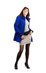 full length shot of woman in blue coat