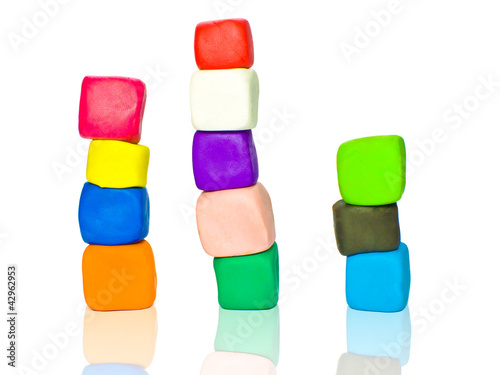 Stacks of plasticine blocks