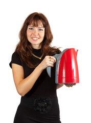 Woman with electric tea kettle