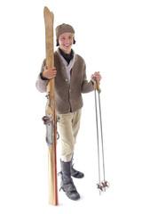 Historischer Skifahrer