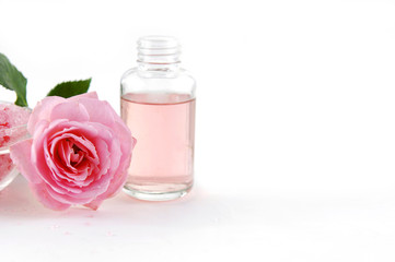 moisturizer bottles and roses. Pink spa still life