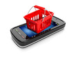 3d illustration: Mobile teleyon and shopping basket. Sale Purcha