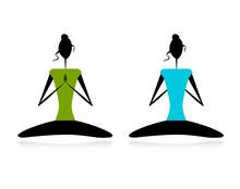 Lotus stelt. Vrouwen beoefenen van yoga