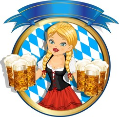 Bavarian girl with red dress and banner