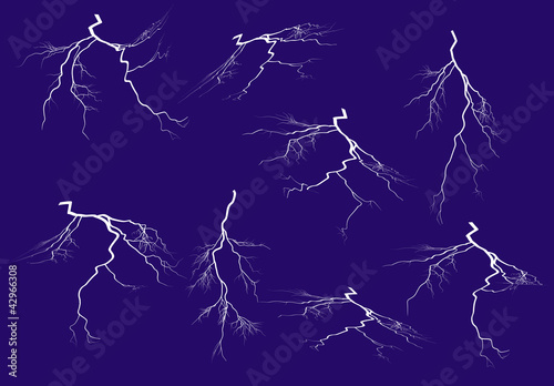 eight lightnings collection isolated on blue