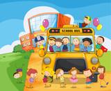 Fototapety school school bus and kids