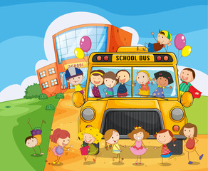 school school bus and kids