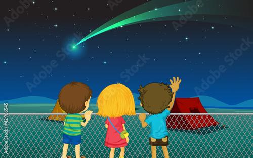Fotobehang Indiërs kids and comet