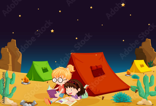 tent house and girl reading books
