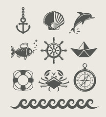 sea and marine symbol set of icon vector illustration isolated