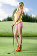 sexy golf player woman with both hands on the golf club