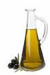 Aceitera de cristal con aceite de oliva y aceitunas negras.