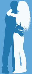 Couple kissing silhouette.