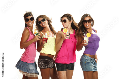 four girls have fun at the party, studio portrait