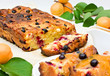Delicious casserole with apricots, currants and granular cheese