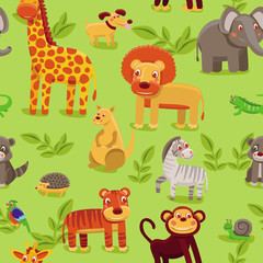 vector seamless pattern with cartoon animals