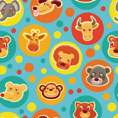 Funny seamless pattern with cartoon animal heads