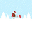 Rudolph Pulling Candy Cane Sleigh With Gift Blue
