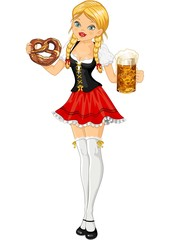 Girl with beer and pretzels