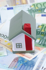 toy house for euro banknotes as a background