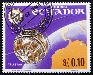 Postage stamp Ecuador 1966 Telstar, Earth and Television