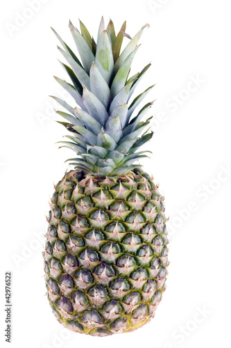 ripe pineapple isolated on white background close up
